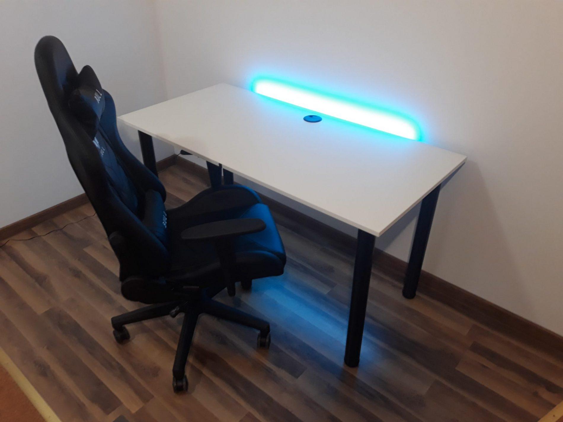 biurko basic gamer led i fotel gamingowy