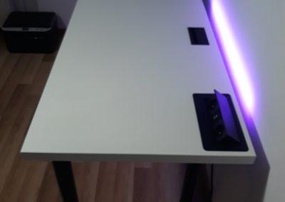 biurko gamingowe białe led krl