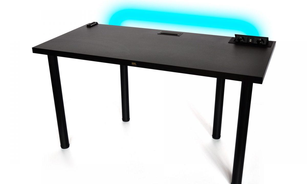 biurko gamingowe pro gamer black led duże czarne