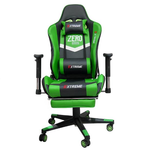 fotel gamingowy z podnóżkiem czarno zielony