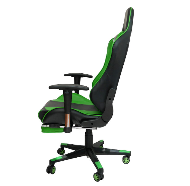 fotel gamingowy z podnóżkiem zielony